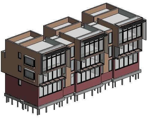 A rendering of three identical buildings with a mixture of red brick base with a front facing side of just windows then a third and fourth storey being made up of brown painted wall.