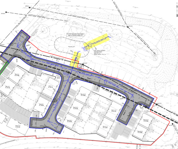 A drawing of a sitemap of a road structure, with a few sections highlighted