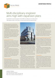 "A one page spread regarding Farrow Walsh with the title ""Multi-disciplinary engineer aims high with expansion plans"""